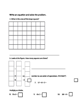 3rd Grade Unit 2 Math Review Math Expressions with ANSWER KEY