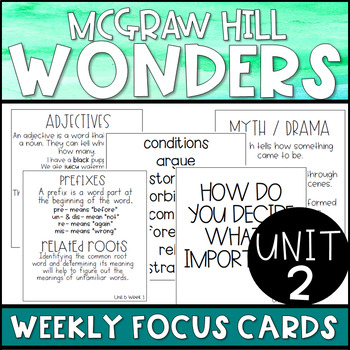 3rd Grade McGraw-Hill Wonders Unit 2 Weekly Skill Bulletin Board Posters