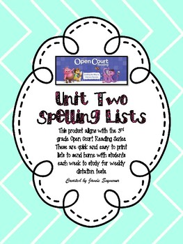 3rd Grade Unit 2 Open Court Spelling Lists