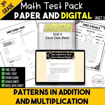 3rd Grade Unit 3 Math Test Bundle {Paper/Pencil and Paperless}