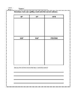 3rd Grade Unit 3 Spelling Work Bundle