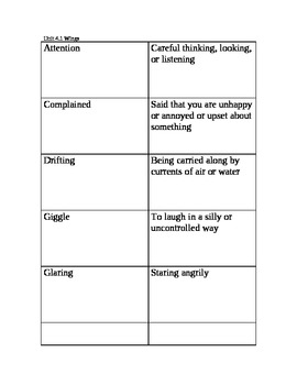 3rd Grade Unit 4 Vocabulary Cards for Reading Street