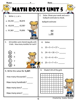 3rd Grade Unit 5 Everyday Math Review ~ Place Value & Decimals
