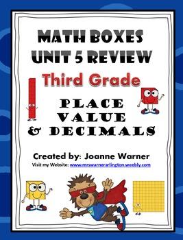 3rd Grade Unit 5 Everyday Math Review ~ Place Value & Decimals