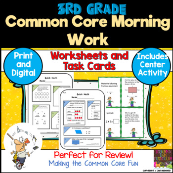 3rd Grade Common Core Quick Math Review and Center Activity