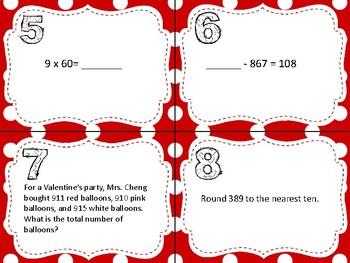 3rd Grade Valentine's Day Math SCOOT