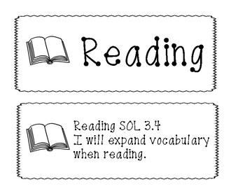 "3rd Grade Virginia SOL ""I will"" 2017 English Objectives B&W"