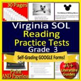 3rd Grade Virginia SOL Test Prep Reading  - TEI Technology Enhanced Items