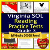 3rd Grade Virginia SOL Test Prep Reading - Printable & SELF-GRADING GOOGLE FORMS