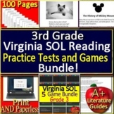 3rd Grade Virginia SOL Reading Test Prep Practice Tests and Games Bundle!
