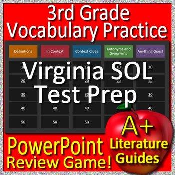 3rd Grade Virginia SOL Reading Test Prep Vocabulary Review Game
