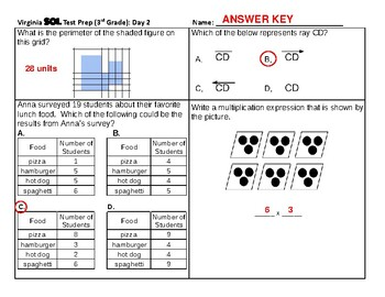 3rd Grade Virginia SOL Test Prep - 2-Day Sample (from 10-Day Test Prep Packet)
