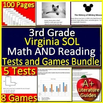 3rd Grade Virginia SOL Test Prep Math and Reading Practice and Games Bundle