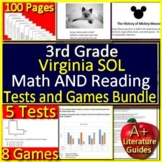 3rd Grade Virginia SOL Test Prep Math and Reading Practice + Games Bundle VA