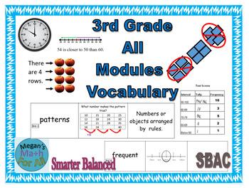 3rd Grade Vocabulary All Modules Bundle - SBAC - Editable