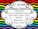3rd Grade Vocabulary Flashcards & Interactive Notebook Pages SET 1:Numeracy TEKS