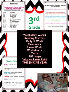 3rd  Grade Vocabulary, Power Point, Center Work , HW, Tests, Word Wall