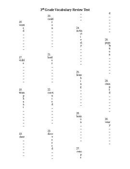 3rd Grade Vocabulary Pretest/Posttest