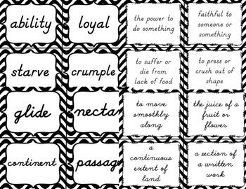 3rd Grade Vocabulary Set (Black and White paper)