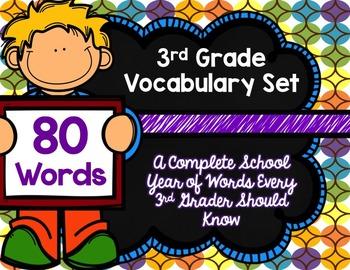 3rd Grade Vocabulary Set (Chocolate Rainbow paper)