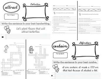 3rd Grade Vocabulary Set (Love the Cats paper)