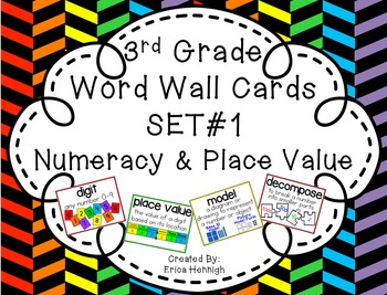 3rd Grade Vocabulary Word Wall Cards Set 1:  Numeracy and Place Value TEKS