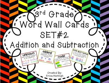 3rd Grade Vocabulary Word Wall Cards Set 2:  Addition & Su
