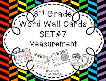 3rd Grade Vocabulary Word Wall Cards Set 7:  Measurement TEKS