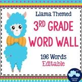 3rd Grade Vocabulary Word Wall (Llama Theme) - Editable!