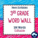 3rd Grade Vocabulary Word Wall (Neon Scribble) - Editable!