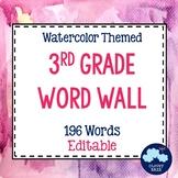 3rd Grade Vocabulary Word Wall (Watercolor) - Editable!
