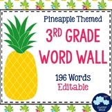 3rd Grade Vocabulary Word Wall (Pineapple Theme) - Editable!
