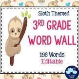 3rd Grade Vocabulary Word Wall (Sloth Theme) - Editable!