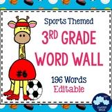 3rd Grade Vocabulary Word Wall (Sports Theme) - Editable!
