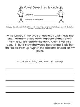 3rd Grade Vowel Detectives- fun worksheets for common vowel spelling errors