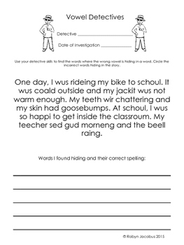 3rd Grade Vowel Detectives- fun worksheets for common vowe