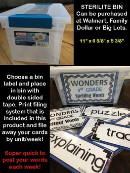 3rd Grade WONDERS Spelling Word Wall Cards
