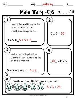 3rd Grade Warm-Ups Expressions Unit 1