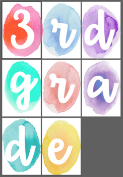 3rd Grade Water Color Sign