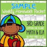 Third Grade Math & ELA Homework: Sample Week