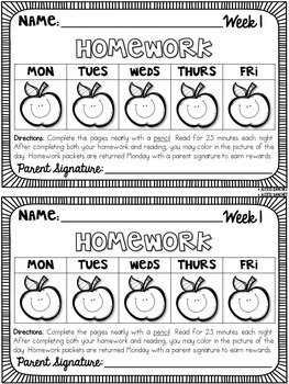 Third Grade Math & ELA Homework: Sample Week