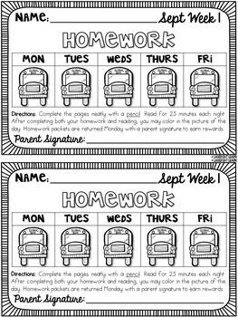 Third Grade Math & ELA Homework: September