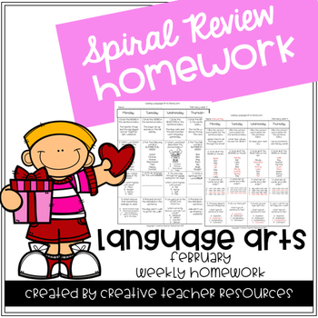3rd Grade Weekly Language Arts Spiral Review: February