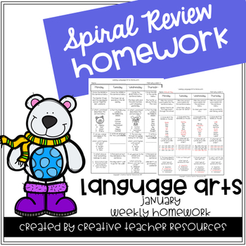 3rd Grade Weekly Language Arts Spiral Review: January