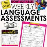 3rd Grade Weekly Language Assessments Grammar Quizzes