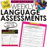 3rd Grade Weekly Language Assessments Grammar Quizzes