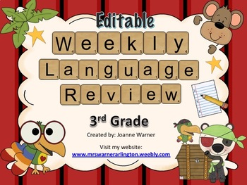 3rd Grade Weekly Language Review Editable