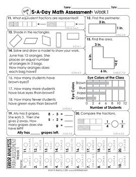 3rd Grade Math Weekly Assessments Math Quizzes