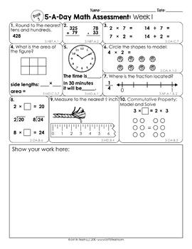 3rd Grade Math Weekly Assessments Math Quizzes Editable