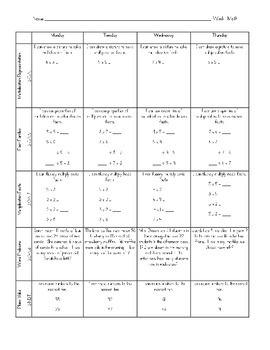 3rd Grade Weekly Math Homework {FREEBIE}